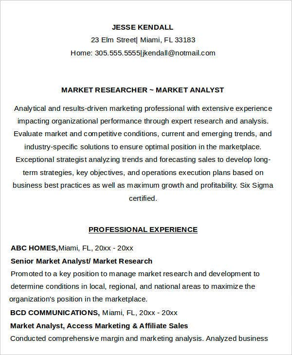 Sample Marketing Researcher Analyst Resume