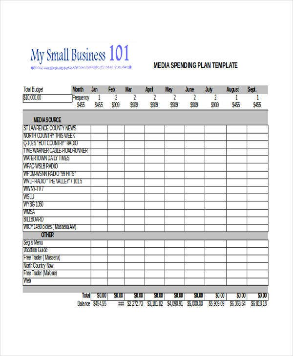 sample media plan