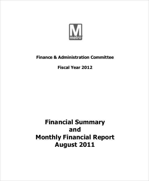 Sample Monthly Financial Report