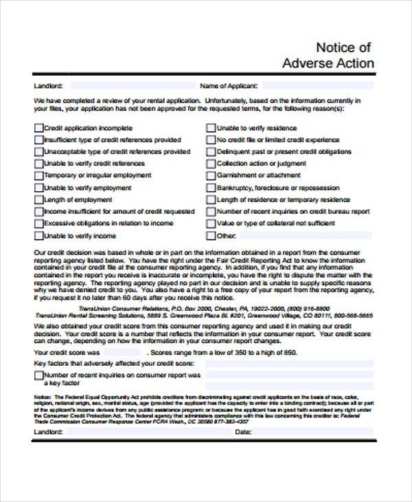 Adverse Action Notice >> 9 Adverse Action Notice Templates Free Sample Example Format