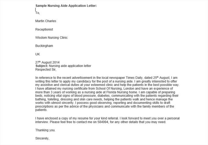 Sample-Nursing-Aide-Job-Application-Letter Sample Application Letter For Nusring Aid on