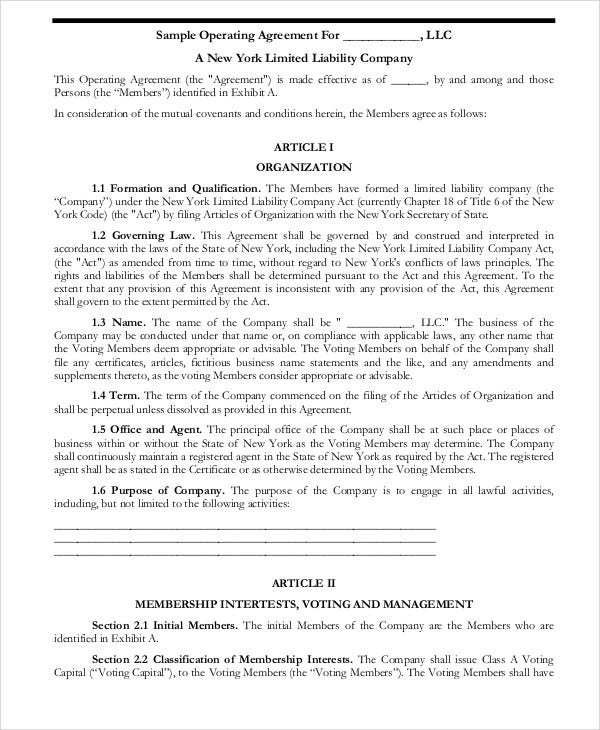 Operating Agreement Templates - 9+ Free Word, Pdf Format Download