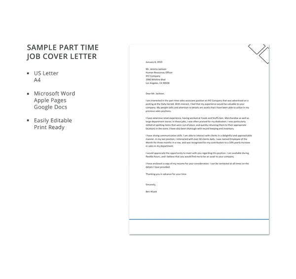 sample part time job cover letter