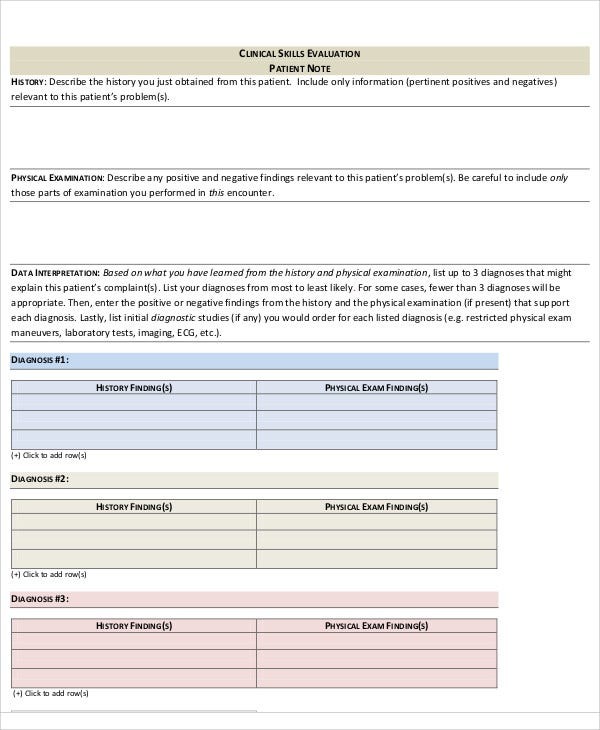 Patient Note Templates   Free Samples Examples Format Download