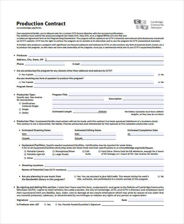 Production Contract Templates  Sample Example  Free