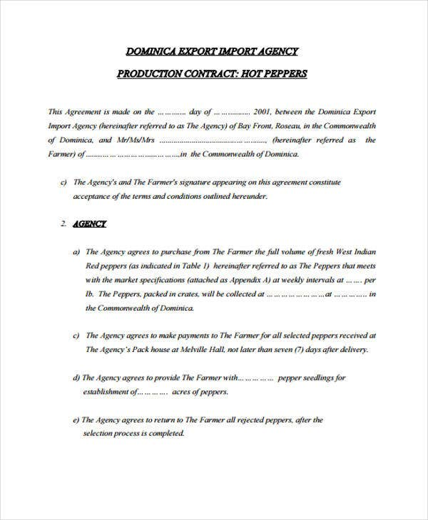 Production contract template