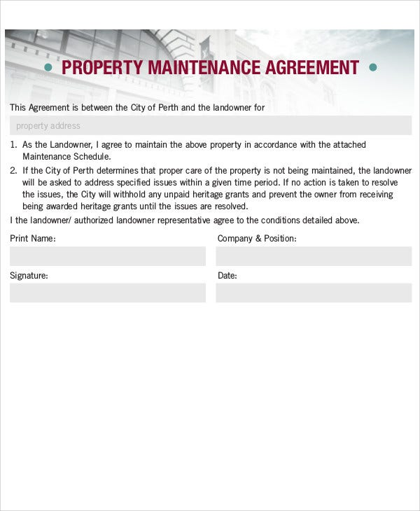 Sample Property Maintenance  Property Maintenance Contract Template