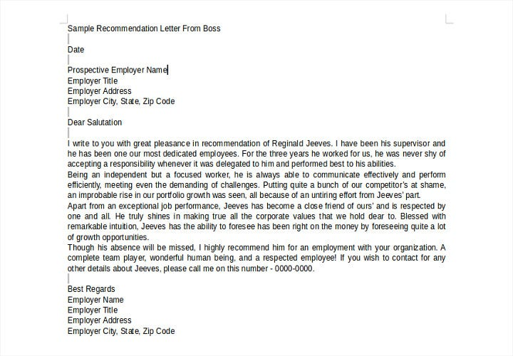 sample recommendation letter from boss