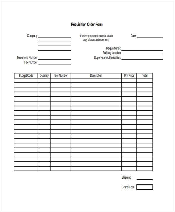 sample requisition order
