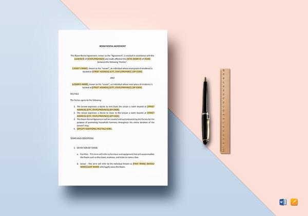 sample room rental agreement word template