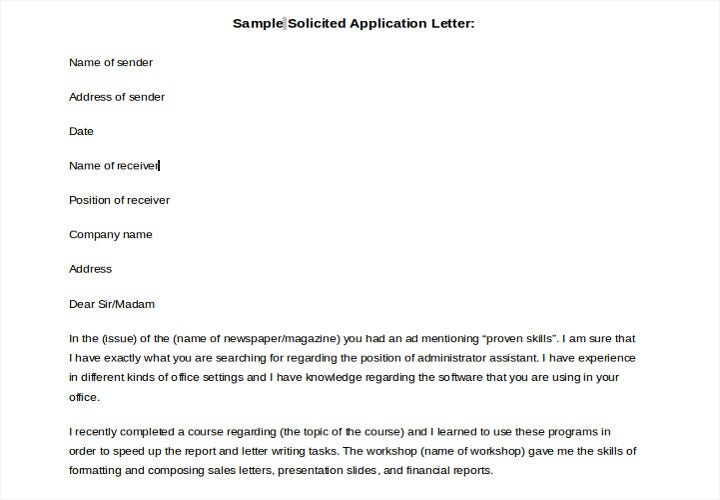 sample solicited application letter
