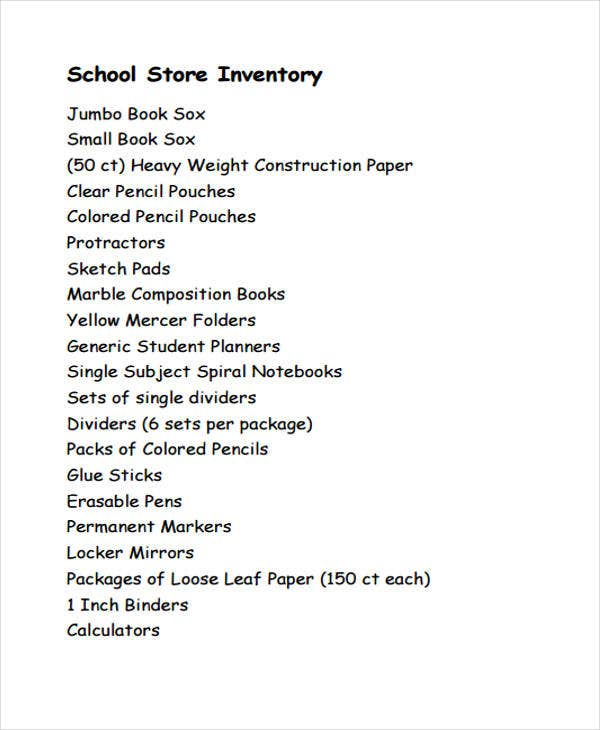 sample store inventory