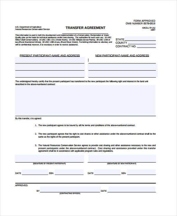 Transfer Agreement Templates  Free Sample Example Format