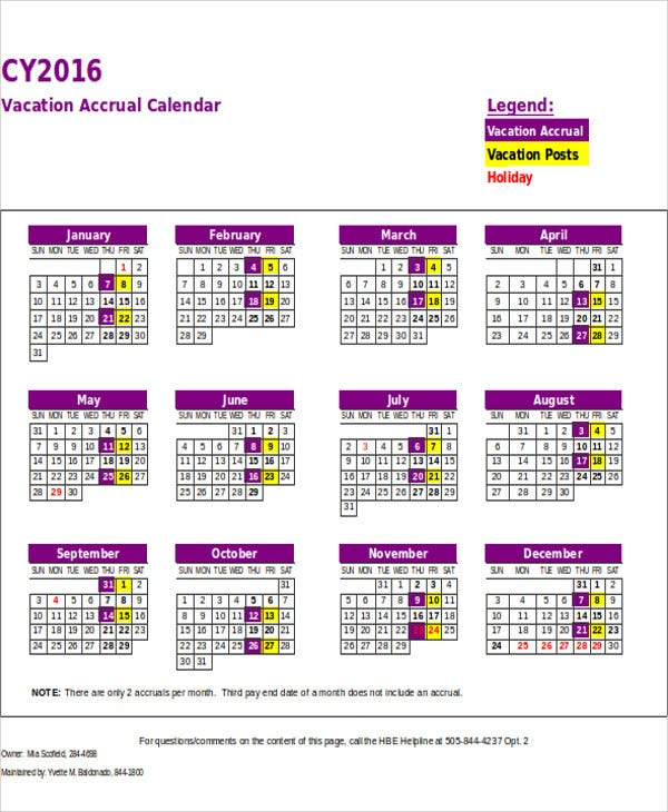 sample vacation calendar