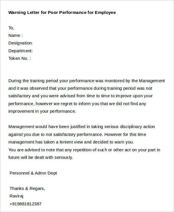 Sample Warning Letter for Poor Performance for Employee