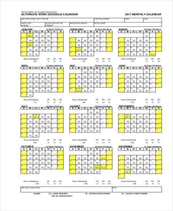 10 Work Calendar Templates Free Sample Example Format Download