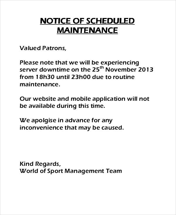 8 Maintenance Notice Templates - Free Sample, Example Format