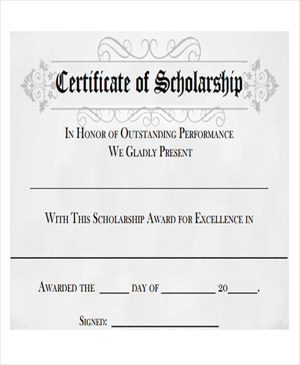 Scholarship Award Template Scholarship Award Certificate