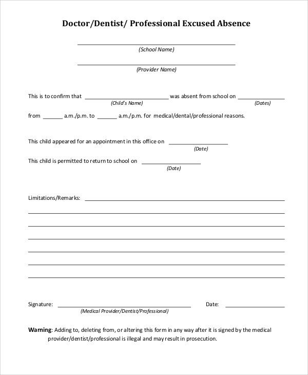 34 free doctors note templates free premium templates for School absence note template free
