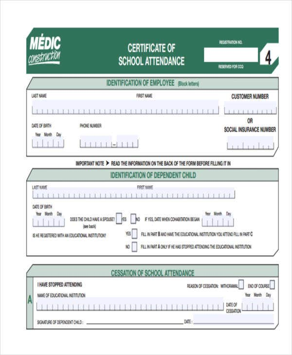 school attendance certificate1