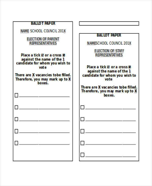 18 paper templates in word free premium templates for Voting slips template