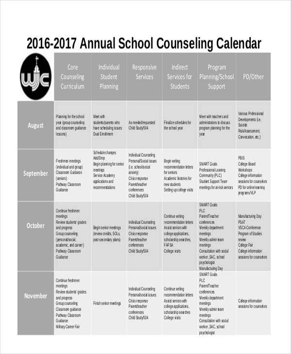 School Calendar Templates  Free Word Pdf Format Download  Free