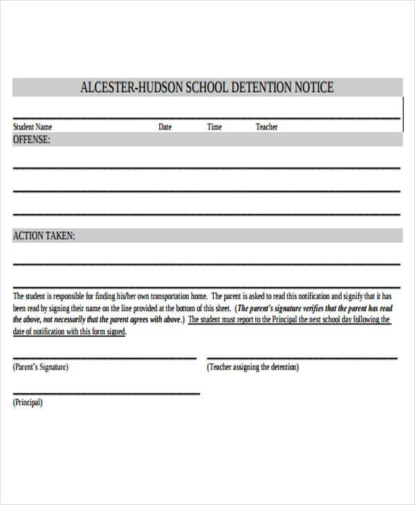 Detention notice templates 6 free word pdf format for Detention notice template