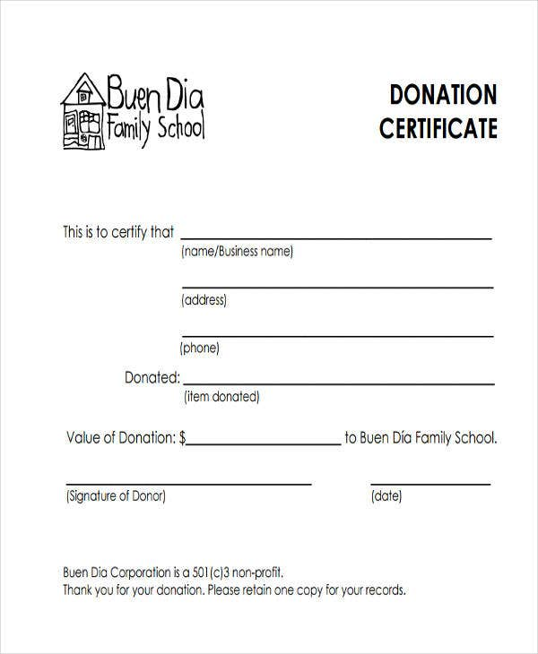 school donation certificate