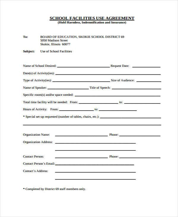 school facility agreement
