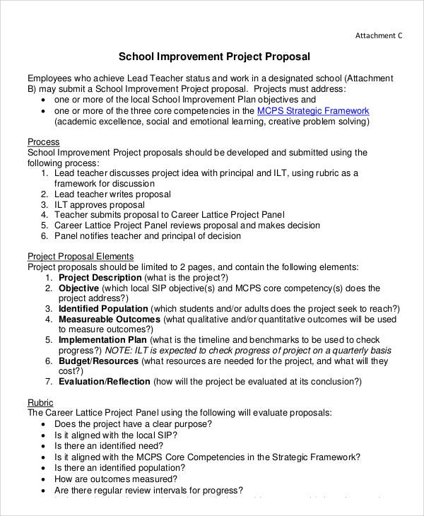 School Project Proposal Templates   Free Word Pdf Format