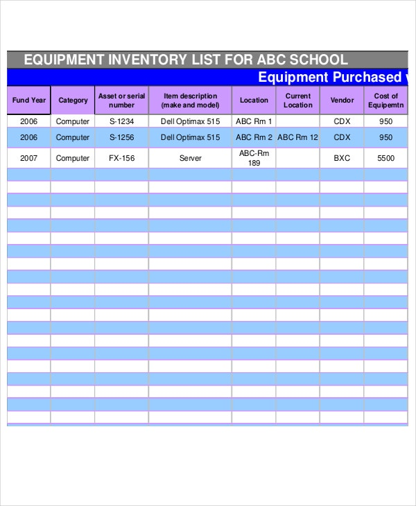 7+ School Inventory Templates - Word, PDF | Free & Premium