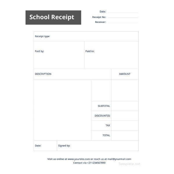 school receipt template