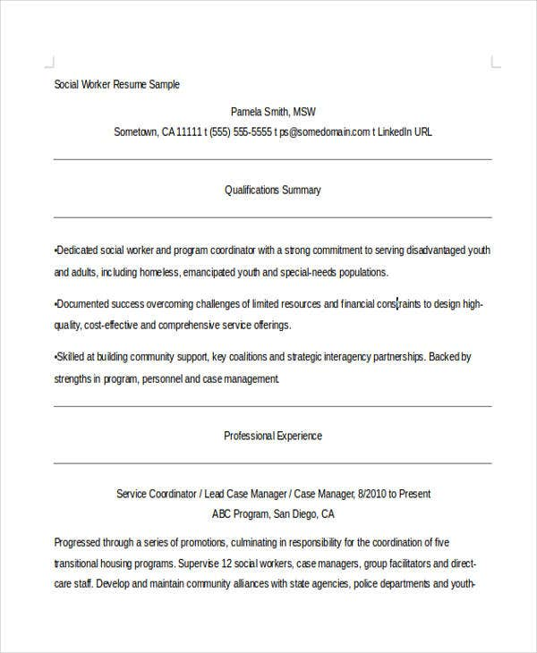 Social Worker Resumes   Free Word Pdf Format Download  Free