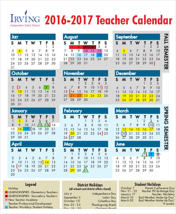 Teacher Calendar Templates  Free Sample Example Format
