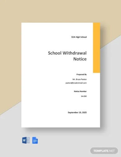 school withdrawal notice template