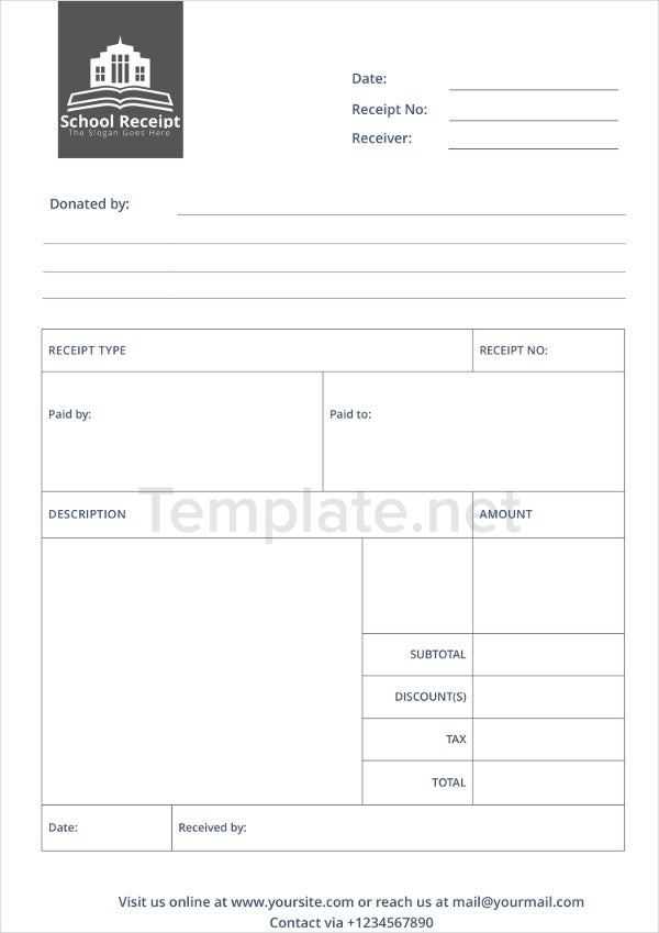 School Receipt Templates