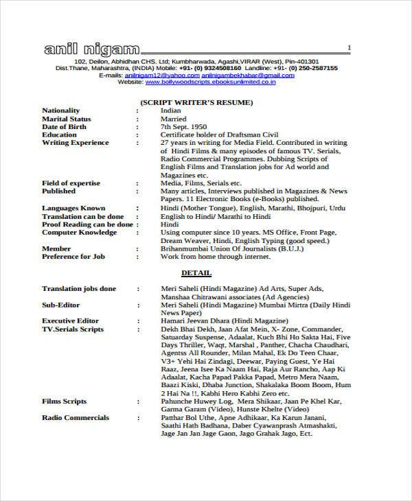 9  writer resumes templates