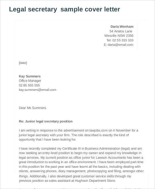legal cover letter 7 cover letters free sample example format 11025 | Secretary Cover Letter