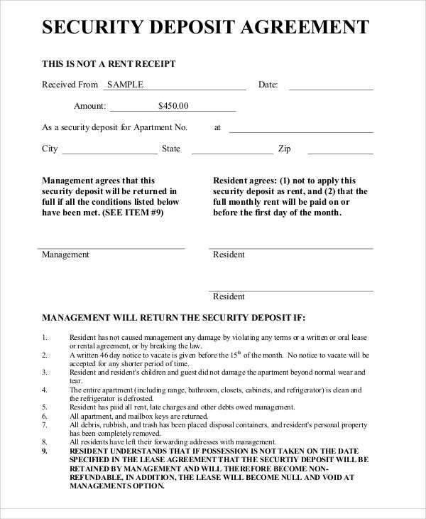 Deposit agreement templates 17 free sample example for Security company contract template