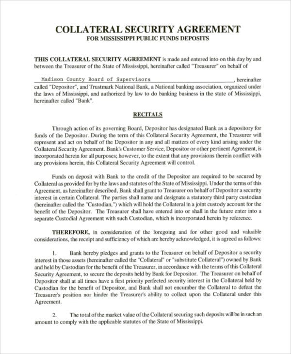 Collateral Agreement Templates  Word Pdf  Free  Premium Templates