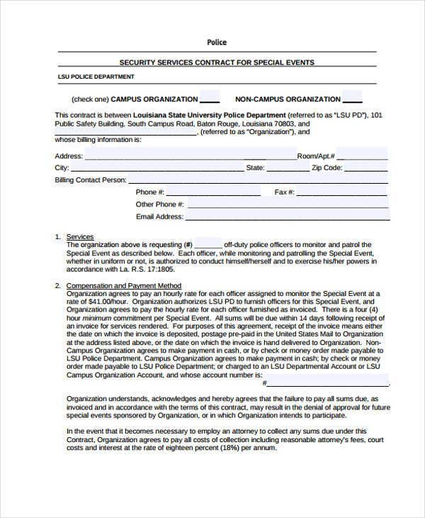 9 proposal contract templates sample examples free for Security company contract template