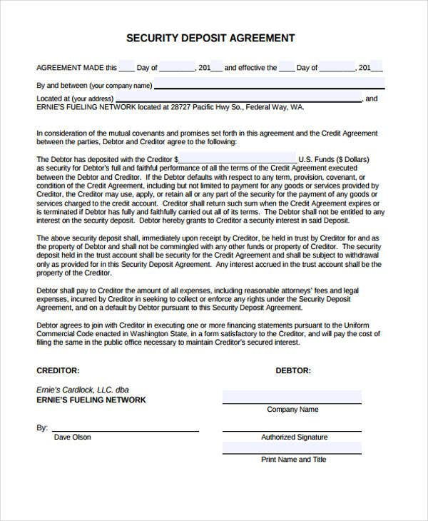8 deposit agreement templates free pdf format download for Security company contract template