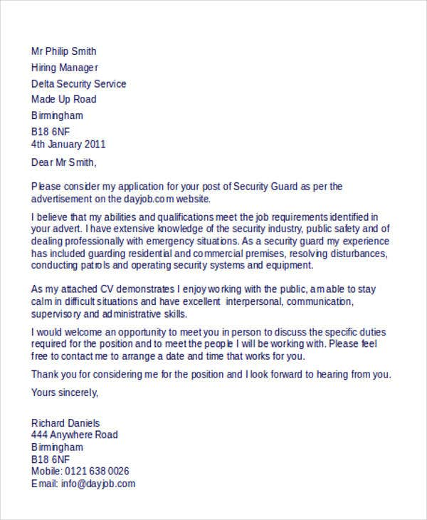 Security Guard Cover Letter 9 Free Word Pdf Format