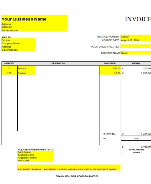 8 Carpenter Invoice Templates Free Sample Example Format