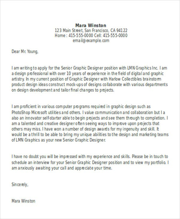 Graphic Designer Cover Letters   Free Word Pdf Format Download
