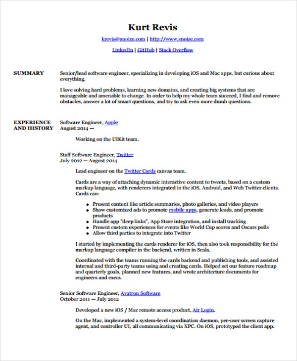 Superieur Senior Resume