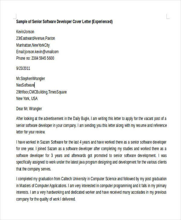 6 Software Developer Cover Letters