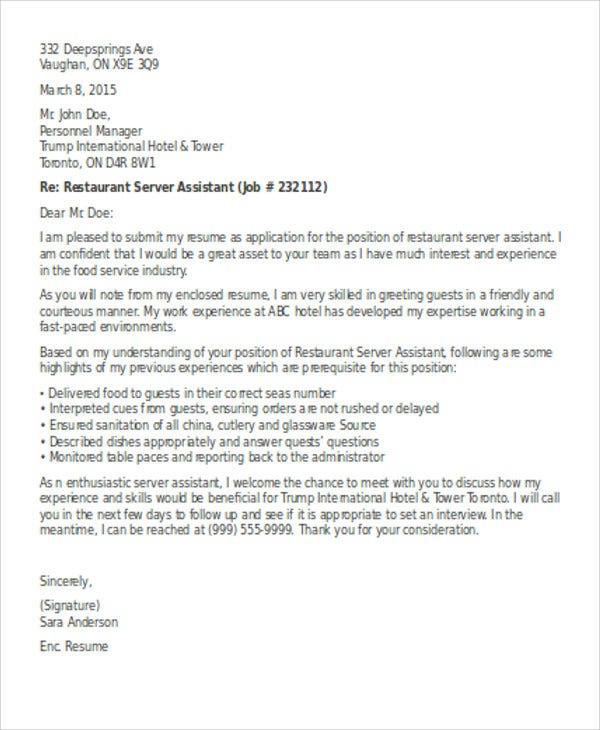Restaurant Server Cover Letter from images.template.net