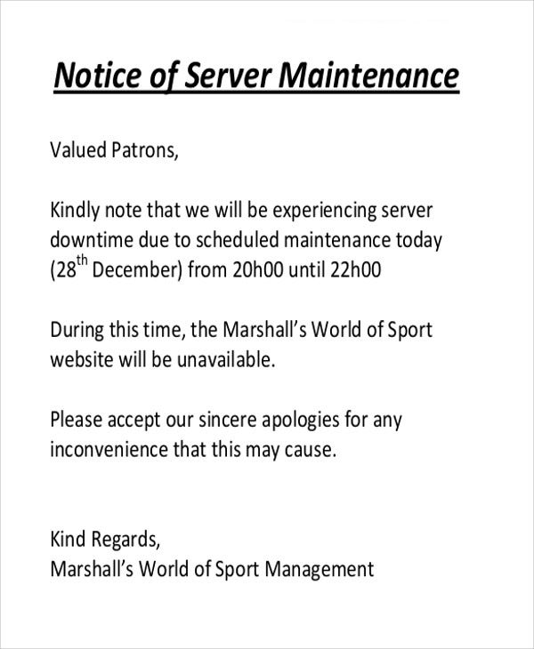Maintenance notice templates 8 free word pdf format download server maintenance notice pronofoot35fo Choice Image