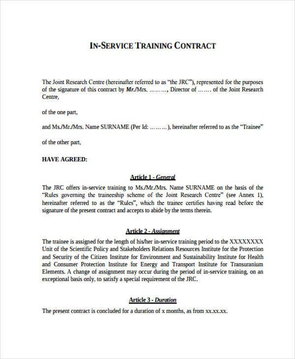 Training Contract Templates - 9+ Free Word, Pdf Format Download